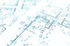 Architektoniczny tło z technicznymi rysunkami i constructio Obraz Stock