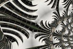 Architektonische abstrakte Fractalhintergrundspirale der Treppe, Treppenhaus, Glas, Metall, Stahl Runde Kurvenlinie Geometrie des vektor abbildung