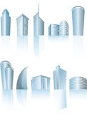 Architektonische generische Stadtbürogebäude Stockfotos