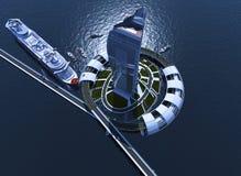 Architektur auf dem Wasser lizenzfreie abbildung