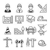 Architektur-Bau-Gebäudeikonensatz Stockbilder