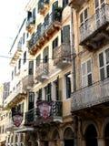 Architektur der alten Stadt von Kerkira auf der Insel von Korfu Lizenzfreies Stockbild