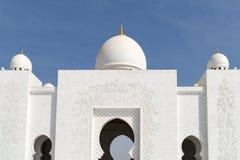 Architektur der großartigen Moschee Abu Dhabi Stockfotos
