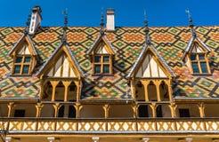 Architektur der historischen Pflegeheime von Beaune, Frankreich stockfoto