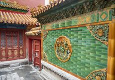 Architektur der Verbotenen Stadt und Verzierungen, Peking, China lizenzfreie stockfotos