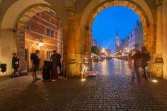Architektur des langen Wegs in Gdansk nachts Lizenzfreies Stockbild