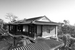 Architektur des traditionellen Chinesen, Schwarzweiss-Bild stockbild