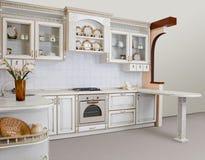 Architektur - eine moderne Kücheabbildung Lizenzfreies Stockfoto