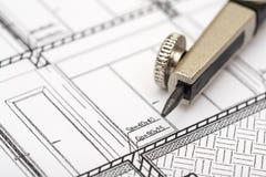 Architektur-Kompaß und Pläne Lizenzfreies Stockfoto