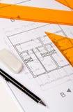 Architektur-Lichtpause und Hilfsmittel Stockbild