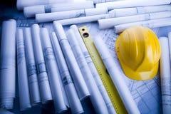 Architektur-Plan und Hilfsmittel lizenzfreies stockbild