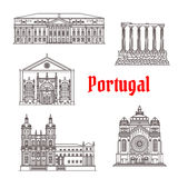 Architektur-Portugal-Marksteinvektorgebäude Stockbild