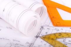 Architektur rolek architektonicznych planów projekta architekt Zdjęcie Stock