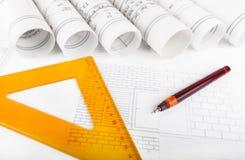 Architektur rollt Architekturplan-Architektenpläne lizenzfreies stockbild