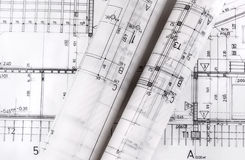 Architektur rollt Architekturplan-Architektenpläne lizenzfreie stockfotografie