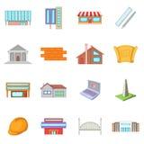 Architektur rzeczy ikony ustawiać, kreskówka styl Zdjęcie Royalty Free