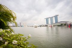 Architektur um Marina Bay Singapore stockfotos