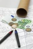 Architektur und Euros Stockbild