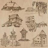 Architektur- und Platzauf der ganzen welt - Freihandzeichnenzeichnungen Stockbild