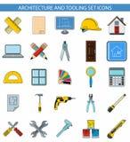 Architektur- und Werkzeugausstattungssatzikonen Lizenzfreie Stockfotografie