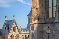 Architektur von Fischer ` s Bastion in Budapest Stockfotos