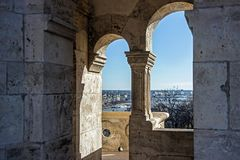 Architektur von Fischer ` s Bastion in Budapest Stockbild