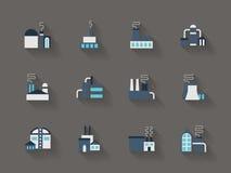 Architektur von flachen Ikonen der Industrie Farb Lizenzfreies Stockbild