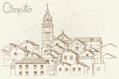Architektur von Korcula, Kroatien Retro- Art vektor abbildung