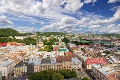 Architektur von Lemberg ukraine stockbild