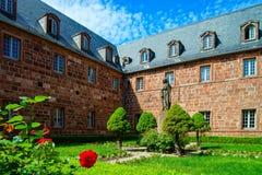 Architektur von Mont Sainte-Odile-Abtei in Elsass, Frankreich Stockbild
