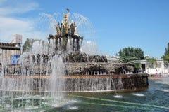 Architektur von VDNKH-Park in Moskau Steinblumenbrunnen Lizenzfreies Stockfoto