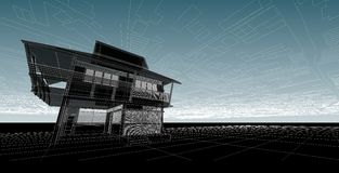 Architektura abstrakt, 3d ilustracja, architektura rysunek Obraz Stock