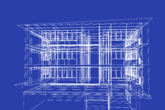 Architektura abstrakt, 3d ilustracja, budynek struktura, Zdjęcie Stock