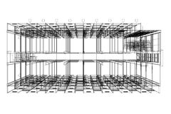 Architektura abstrakt, 3d ilustracja, budynek struktury budynku handlowy projekt Fotografia Royalty Free
