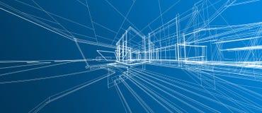 Architektura astronautycznego projekta pojęcia 3d ramy Wejściowego zewnętrznego perspektywicznego białego renderingu gradient royalty ilustracja