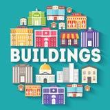 Architektura budynków okręgu infographics szablonu pojęcie Ikony projektują dla twój projekt, produktu, sieć i wisząca ozdoba lub Zdjęcie Royalty Free
