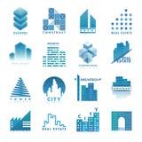 Architektura budynku drapacza chmur budowy budowniczego przedsiębiorcy budowlanego loga odznaki nieruchomości wektoru agencyjna i Fotografia Stock