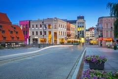 Architektura Bydgoski miasto przy półmrokiem, Polska zdjęcia royalty free