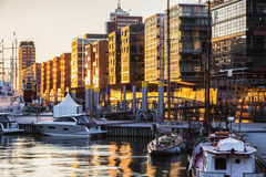 Architektura Hamburg przy zmierzchem zdjęcia royalty free