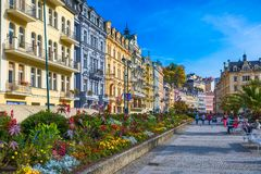 Architektura Karlovy Zmienia, republika czech (Karlsbad) Ja jest t Zdjęcia Stock