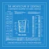 Architektura koktajle barmanu projekt Klasyczni koktajle ilustracji