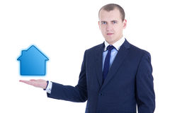 Architektura lub nieruchomości pojęcie - młody biznesowego mężczyzna mienie Zdjęcie Stock