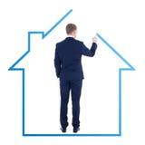Architektura lub nieruchomości pojęcie - tylny widok młody biznes Fotografia Royalty Free