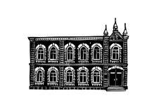 Architektura miasto Krasnoyarsk Czarny i biały grafika, stosowne dla drukowanych produktów ilustracji