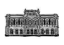 Architektura miasto Krasnoyarsk Czarny i biały grafika, stosowne dla drukowanych produktów royalty ilustracja