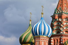 Architektura, niebo, Rosja, kopuła, Moskwa, kościół, St basilu Ð ¡ athedral Zdjęcie Royalty Free