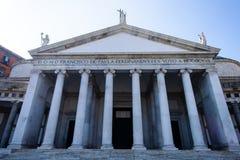 Architektura Plebiscito kwadrat w Naples, Włochy zdjęcie stock