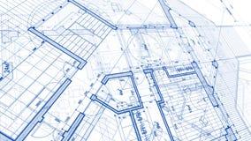 Architektura projekt: projekta plan - ilustracja planu mod zdjęcie stock