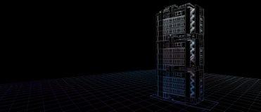 Architektura projekta pojęcia 3d zewnętrznego fasadowego budynku koloru drutu perspektywiczna rama odpłaca się czarnego tło Dla a royalty ilustracja