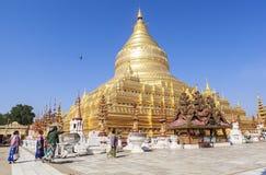 Architektura Shwezigon pagoda w Bagan Zdjęcia Royalty Free